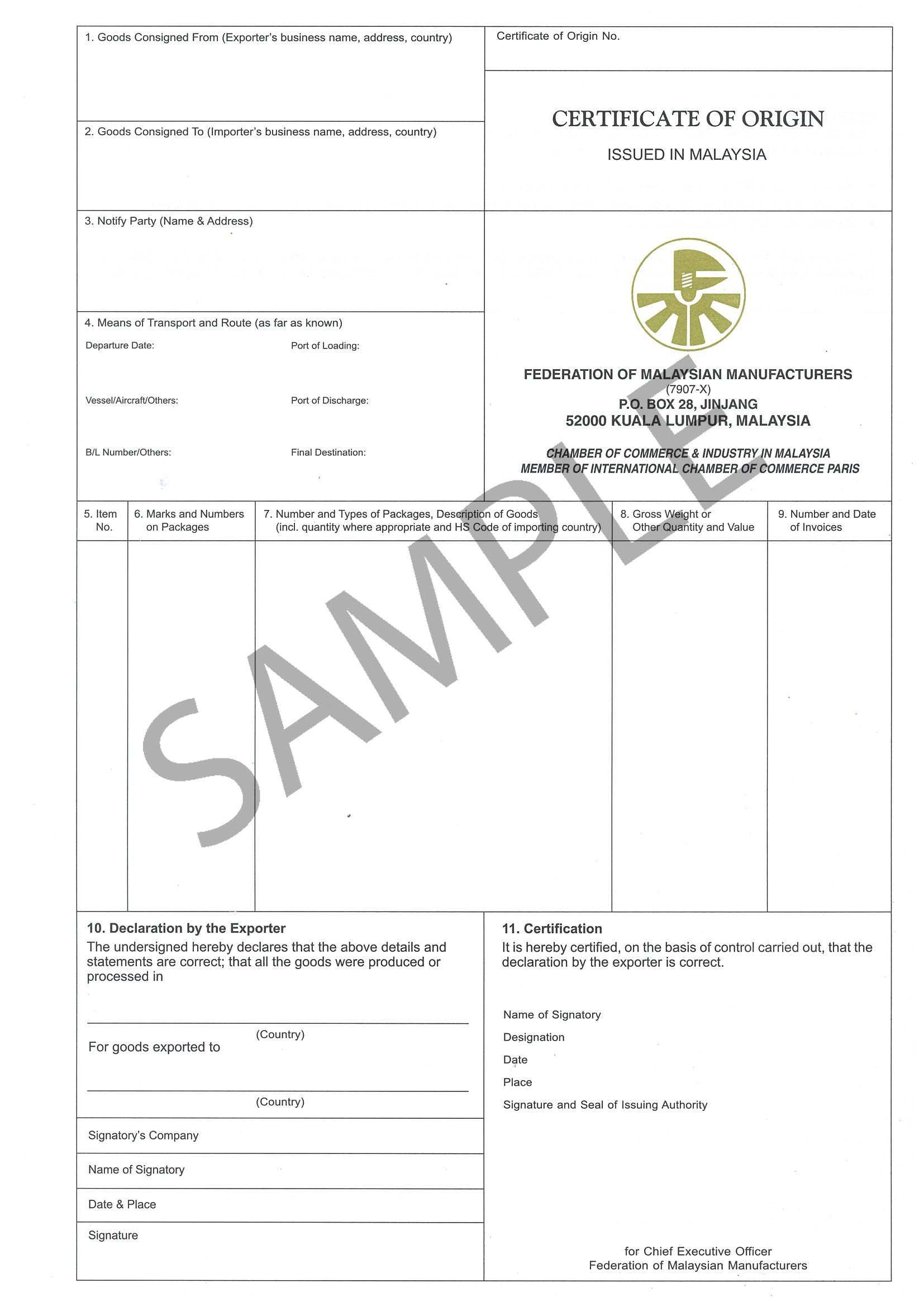 certificate of manufacture template - manufacturer certificate of origin template car interior